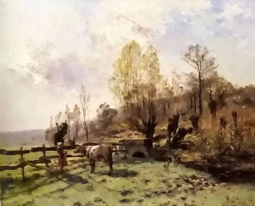 Oil painting leon germain pelouse - a pastoral scene with a milkmaid and a cow