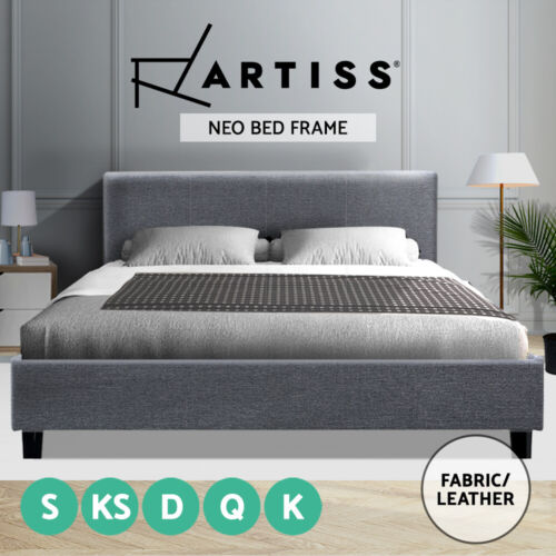 Artiss Single Double Queen King Size Bed Frame Base Mattress Fabric Wooden <br/> ✔AU local stock ✔Luxurious comfort ✔Solid wood frame✔