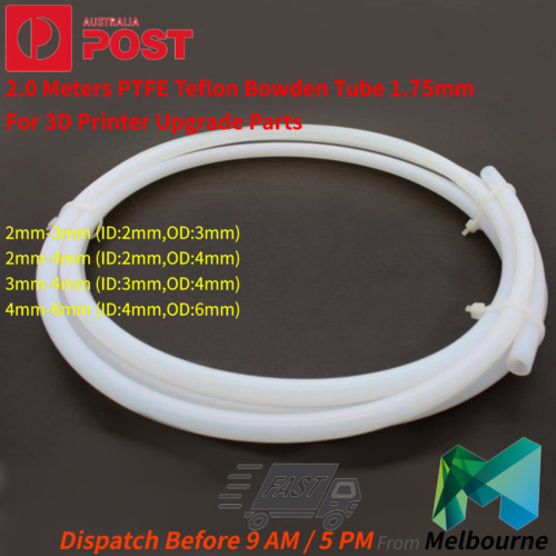 3D Printer Upgrade Parts 2.0 Meters PTFE Teflon Bowden Tube 1.75mm