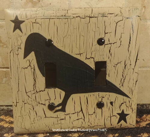 Primitive Crackle Tan & Black Crow Star Double Switch Plate ~ Country Decor