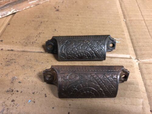 """Pretty pair c1880 matching authentic VICTORIAN cabinet pull hardware 3.25"""" -#283"""