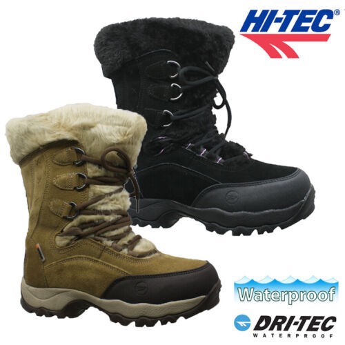 LADIES HI TEC LEATHER WATERPROOF FUR WINTER WARM WALKING HIKING BOOTS SHOES SIZE <br/> THERMO-DRI...WATERPROOF...INSULATED...RRP £79.95