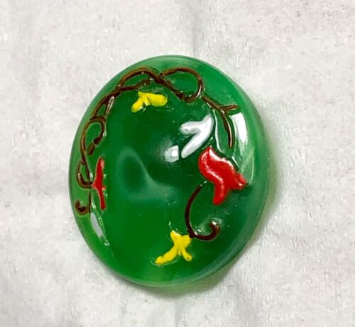 Vintage Green Moonglow Button, Brown Ivy Vine w Red, Yellow, White Flowers - Med