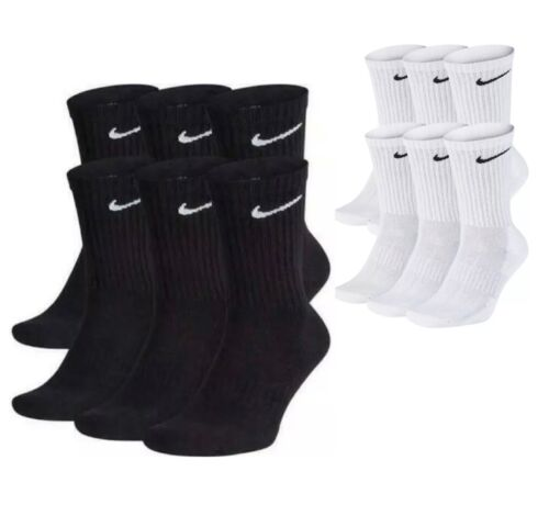 Nike Dri-Fit Cotton Everyday Cushioned Crew Socks 1, 3, or 6 Pair Black