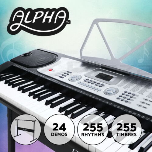 Alpha 61 Keys Electronic Piano Keyboard LED Electric Holder Music Stand Beginner
