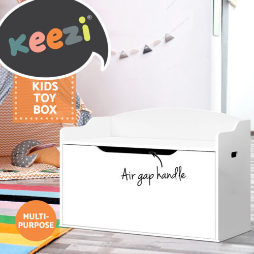 Keezi Kids Toy Box Storage Cabinet Chest Blanket Children Clothes Organiser <br/> ✔2-in-1 storage box and bench seat✔Safe hinges