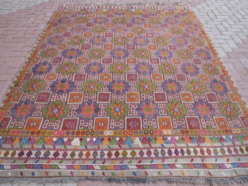 """Antique Turkish Kilim Embroidery Wool Large Rug Green Blue Color Carpet 83""""x111"""""""