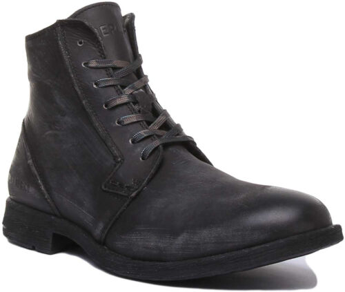 Replay Hotman Mens Lace Up Leather Ankle Boots In Stone Black UK Sizes 6 - 12