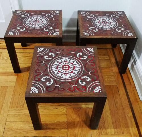 Indoor Outdoor Ceramic Tile Top Painted Wooden Side Tables (Local Pickup Only)