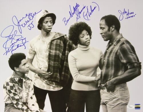 1974-76 Amos, Walker, Stanis, Carter Good Times Signed LE 16x20 B&W Photo (JSA)