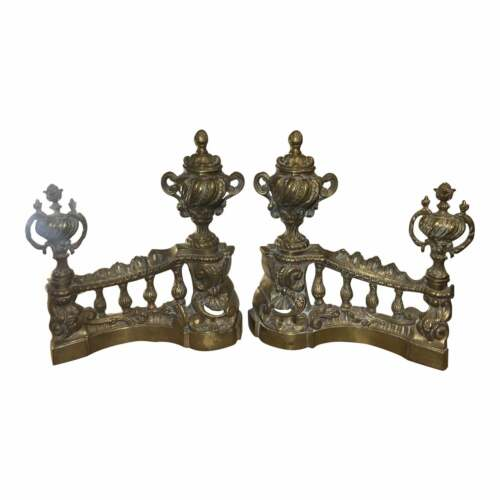 Antique Early 19c French Gilt Bronze Chenets - a Pair