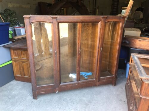 "Vintage c1900/10 oak four door book case beveled glass 64"" w x 56"" h x 15"" deep"