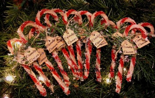 = Primitive 12 Christmas Vintage Style Chenille CANDY CANES Glittered Tag Sign
