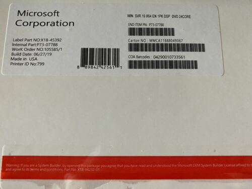 Windows Server 2019 Standard 64BIT On DVD 24 CORE With COA