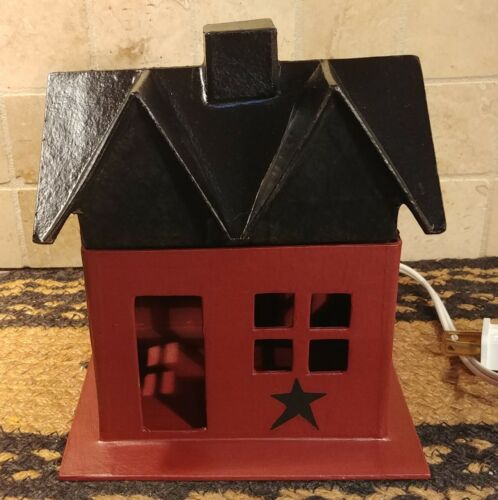 Primitive Barn Red w/ Black Star Lighted Small House Hand Painted Country Decor