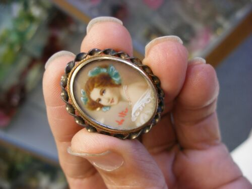 Antique Victorian 1/20 12K Gold Miniature Portrait Pin Brooch Pendant #289