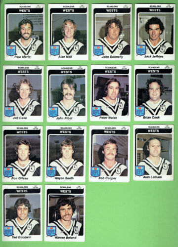 1980  Western Suburbs Magpies  Scanlens Rugby League Cards