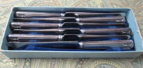CENTURY 6 Hollow Handle Dinner Knives Unused in Box Silverplate 1923