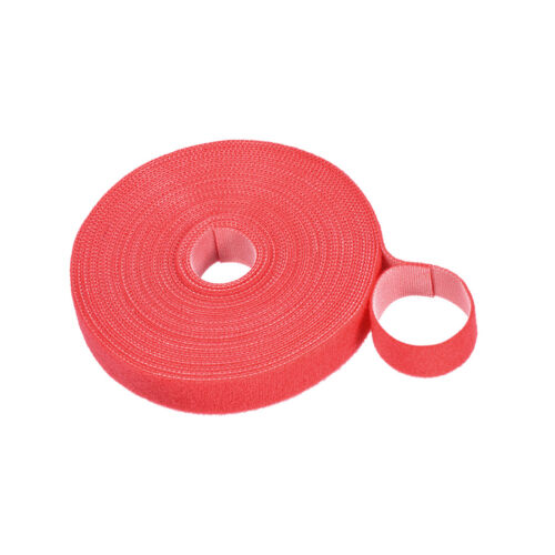 Reusable Cable Ties, Hook and Loop Cord Strap, 11 Yard x 0.8 Inch Red 1 Roll
