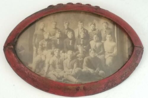 Early 1900s Missouri high school FOOTBALL TEAM CABINET CARD PHOTO in Wood Frame