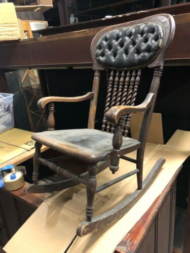 "child size vintage oak rocking chair leather seat cover barley twist 29"" h 17"" w"