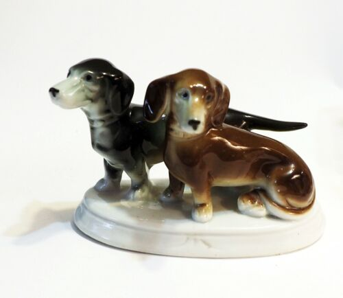 Antique porcelain Germany 2 Doxie Dachshund dogs Carl Scheidig NICE!!!