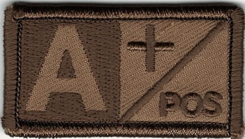 Brown Tan Blood Type A+ Positive Patch VELCRO® BRAND Hook Fastener CompatibleArmy - 48824