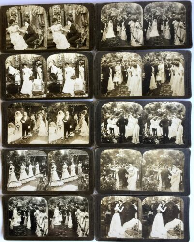 ANTIQUE 1902 WEDDING CEREMONY STEREOSCOPIC TEN CARDS SET PHOTOGRAPHIC 3-D IMAGES