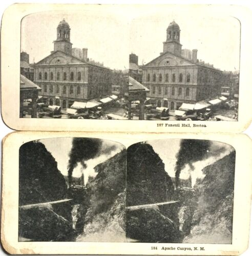 2 ANTIQUE STEREOSCOPIC PHOTO CARDS WITH DOUBLE SIDED STEREOVIEWS 4 IMAGES IN ALL