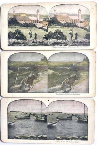 3 ANTIQUE STEREOSCOPIC 3-D PHOTO CARDS ~ PALESTINE AND CAIRO, EGYPT STEREOVIEWS