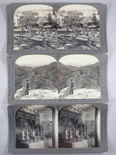 VINTAGE KEYSTONE STEREOVIEW CARD B&W PHOTO CHINA GREAT WALL JOSS HOUSE CANTON