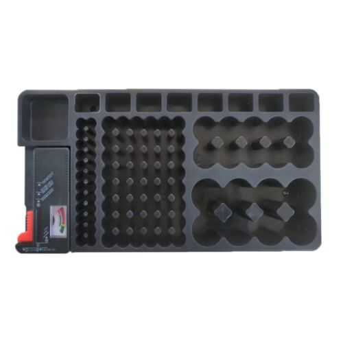 110pcs AA/AAA/9V/C/D Battery Storage Organizer Box Case and Tester Removable