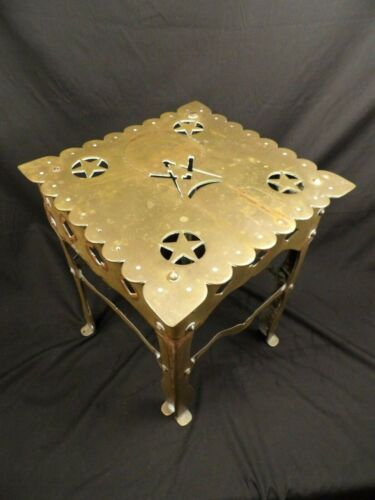 Large Antique Brass 19th Century Masonic Stand Trivet Pot Table Fireplace