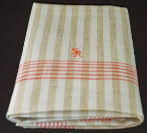 "Vintage Striped LINEN TOWEL with ""SR"" Monogram"