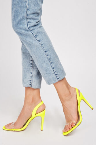MissGuided Ladies Neon Lime Yellow High Heels Strappy Sandal Shoes