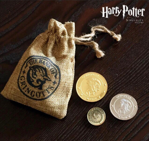 Kids Gift Harry Potter Gringotts Wizard Bank Collection Coins in Pouch Cosplay