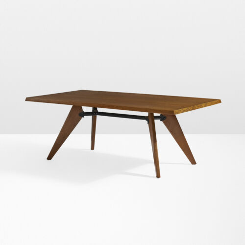 """Rare Jean Prouvé Table """"Solvay"""" in 2.5"""" thick Natural Oak  72"""" x 48"""" x 30"""" MCM !"""