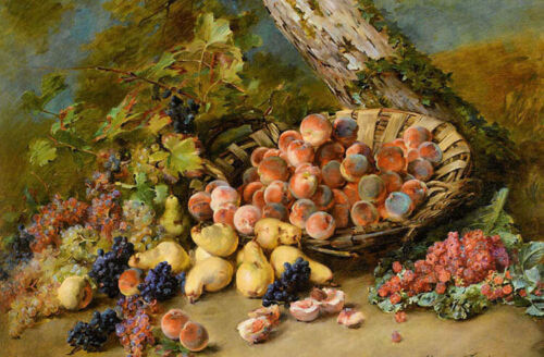 Stunning Oil painting Madeleine Jeanne Lemaire still life with fruits landscape