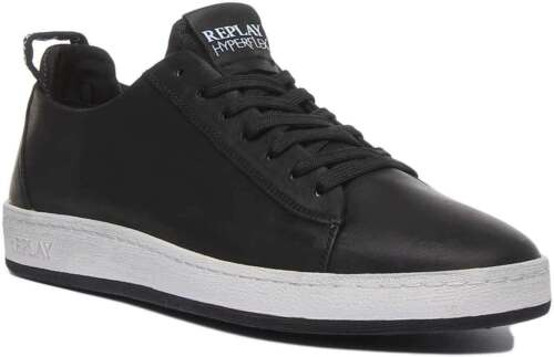 Replay Thorn Men Leather Trainers In Black Size UK 6 - 12