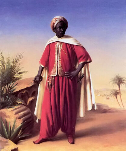 Oil painting horace vernet - portrait of an arab standing hand painted in oil
