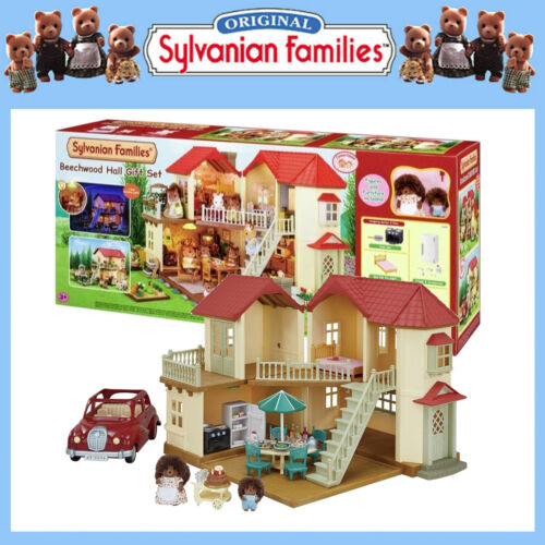 SYLVANIAN FAMILIES BEECHWOOD HALL GIFT SET w SALOON CAR + FURNITURE + HEDGEHOGS