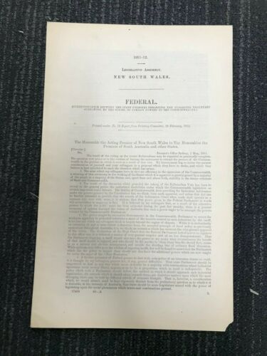 FEDERAL 1911-12 PARLIAMENTARY PAPER M631
