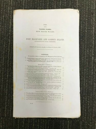 FORT MACQUARIE AND GARDEN ISLAND 1859 PARLIAMENTARY PAPER M634