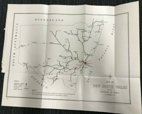 MAP OF NSW JAILS 1911 M636