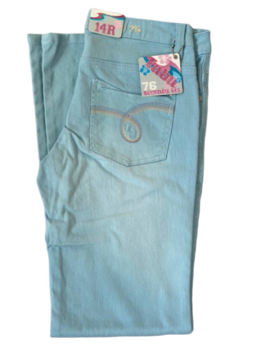 Jeans Flared Ladies Blue Cotton Embroidery Stitch Pockets
