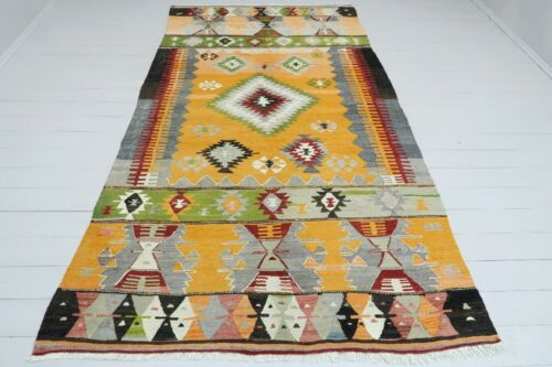 "Antique Anatolia Kilim Yellow Colored Rug Wool Rugs 59,8""x109,4"" Area Rug Carpet"