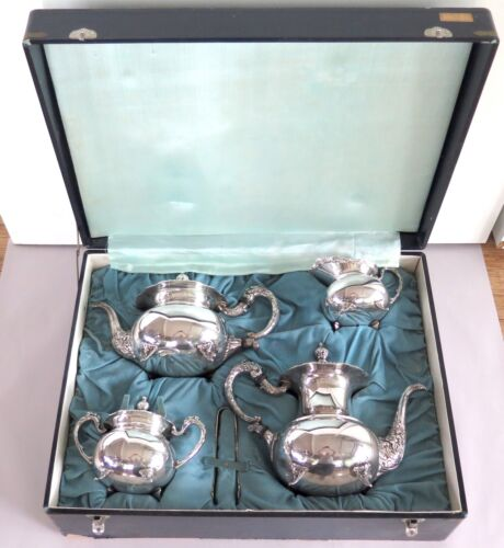 .Japanese Mid Century Export Sterling Silver Five Piece Tea Coffee Set 2416 g