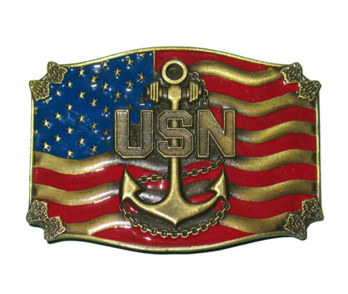 US Navy Blue Bronze Tone Anchor Flag All Metal Belt Buckle Made In USA IN STOCKNavy - 66533