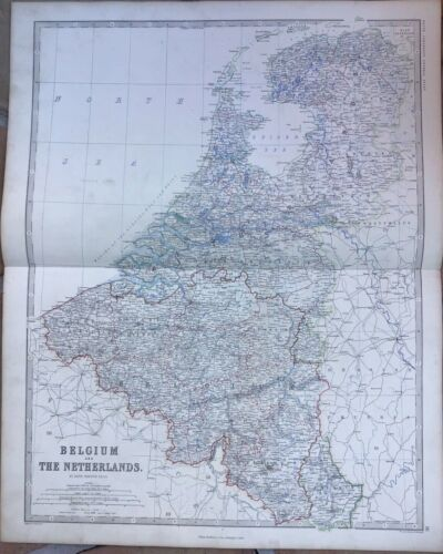"""1861 Double-Page Antique Map - """"BELGIUM & THE NETHERLANDS"""" - Keith Johnston"""