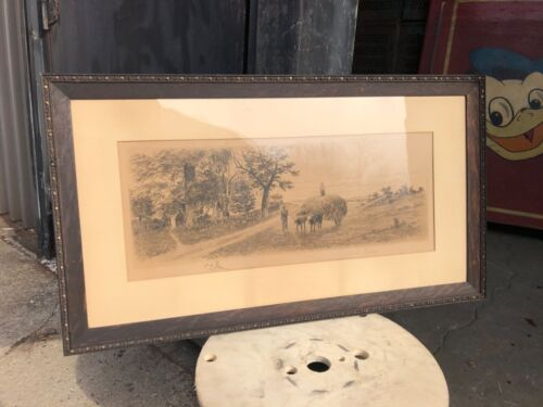WOW Quartersawn oak picture frame C Westerly 1897 print NYC 31.5/18 fancy detail